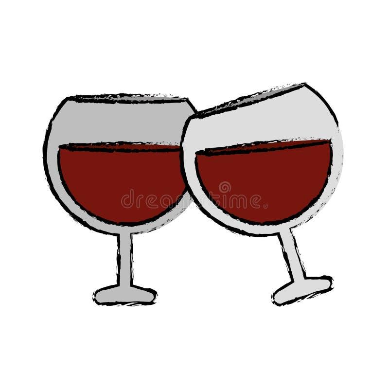 Rysować dwa szkieł brandy napoju alkohol ilustracja wektor