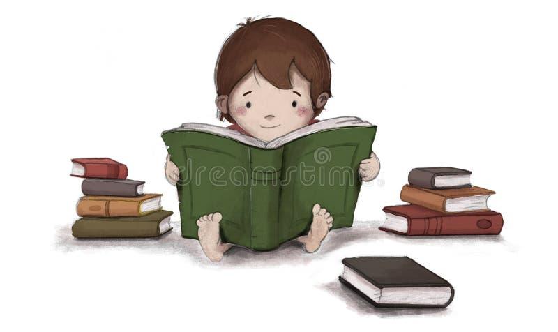Rysować dziecko czyta książkowego obsiadanie na podłoga ilustracja wektor