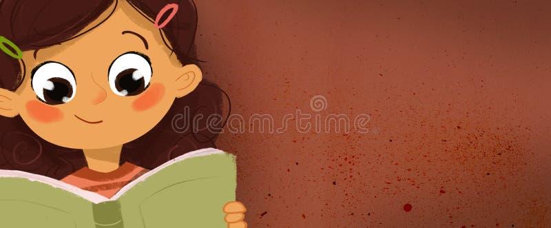 Rysować dziewczyna czyta książkę royalty ilustracja