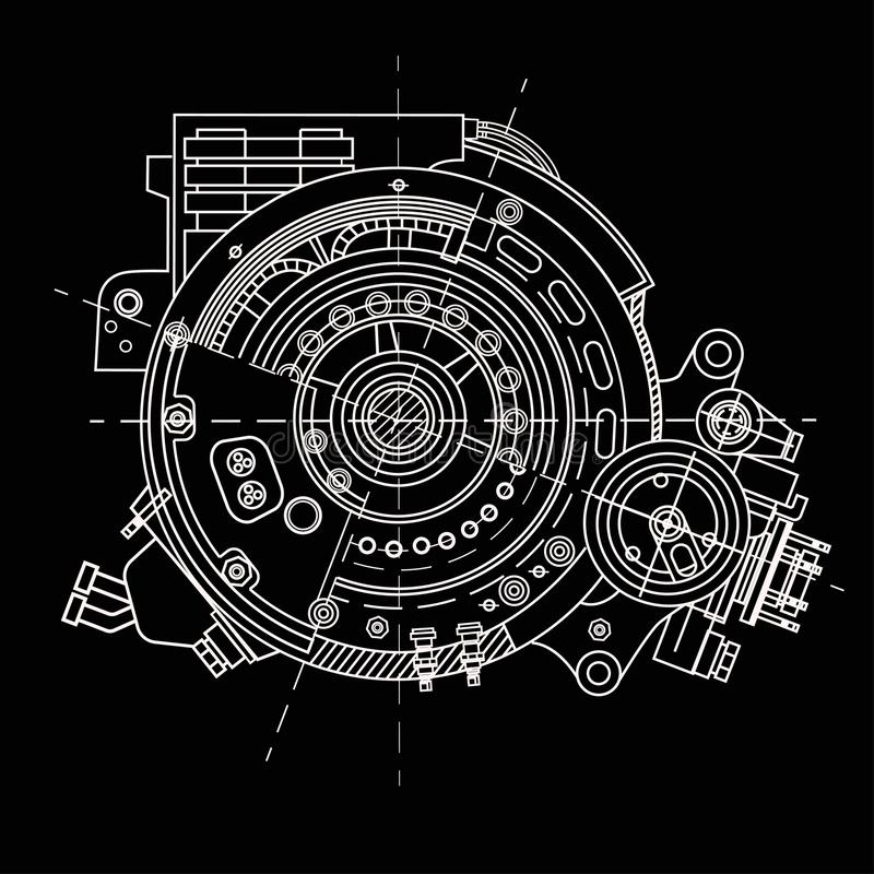 Rysować elektrycznego silnika sekcję reprezentuje wewnętrzną strukturę mechanizmy i Ja może używać ilustrować ilustracji