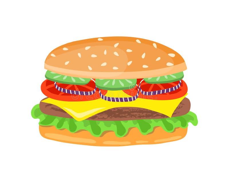 Rysować hamburger z serem, pomidory, kotlecik, sałata, cebula royalty ilustracja
