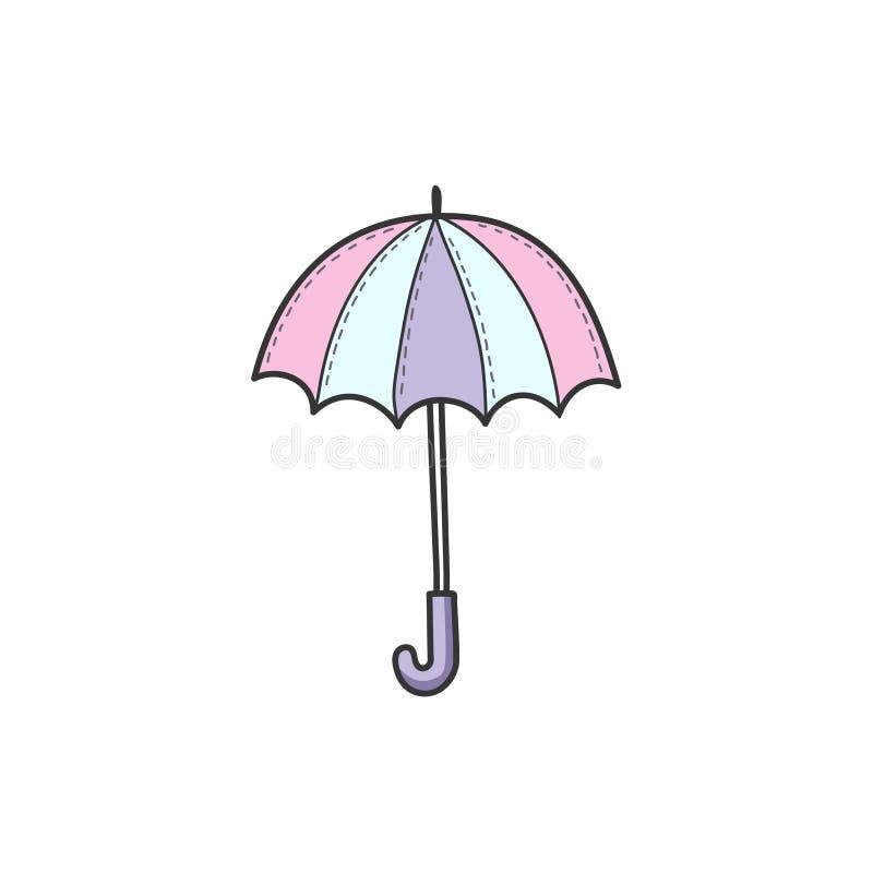 Rysować koloru parasol w stylu doodle Prosta wektorowa ilustracja ręcznie royalty ilustracja