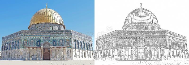 Rysować kopuła Rockowy meczet, Jerozolima ilustracji