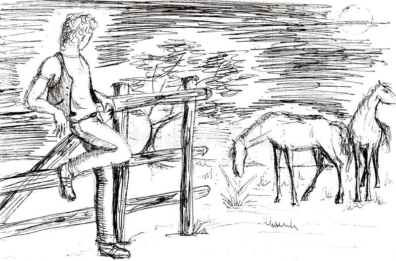 rysować młoda krowy chłopiec z koniami royalty ilustracja