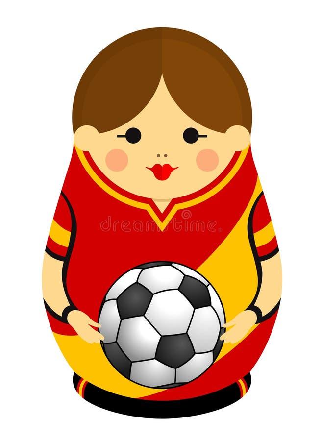 Rysować Matryoshka z kolorami flaga trzyma piłki nożnej piłkę w ona Hiszpania ręki Rosyjska gniazdować lala w czerwieni ilustracji