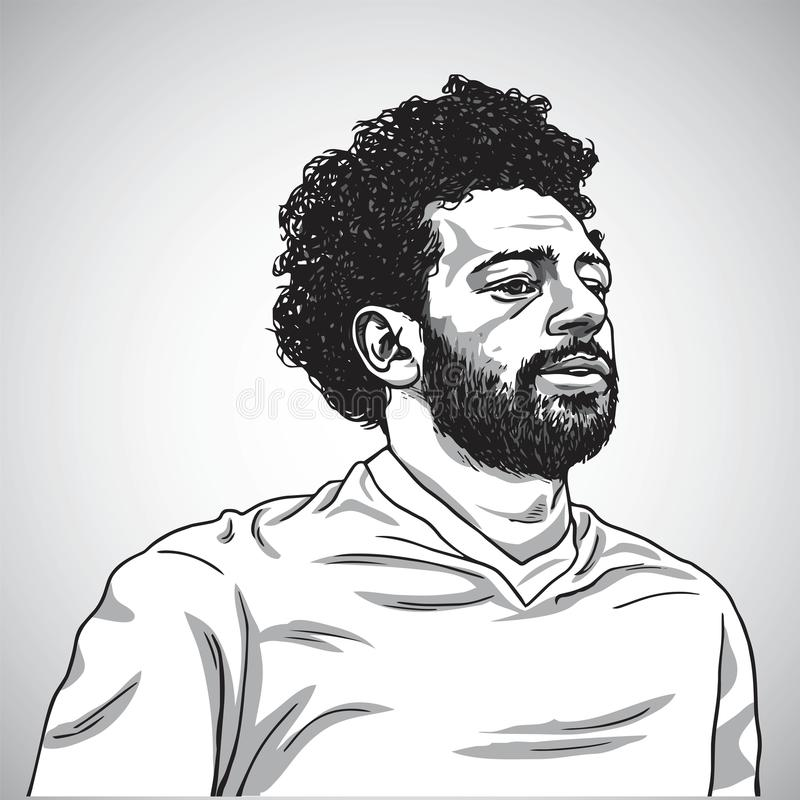 Rysować Mo Salah portreta kreskówki karykatury Wektorowa ilustracja Czerwiec 5, 2018