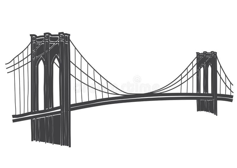 Rysować most brooklyński w Nowy Jork royalty ilustracja