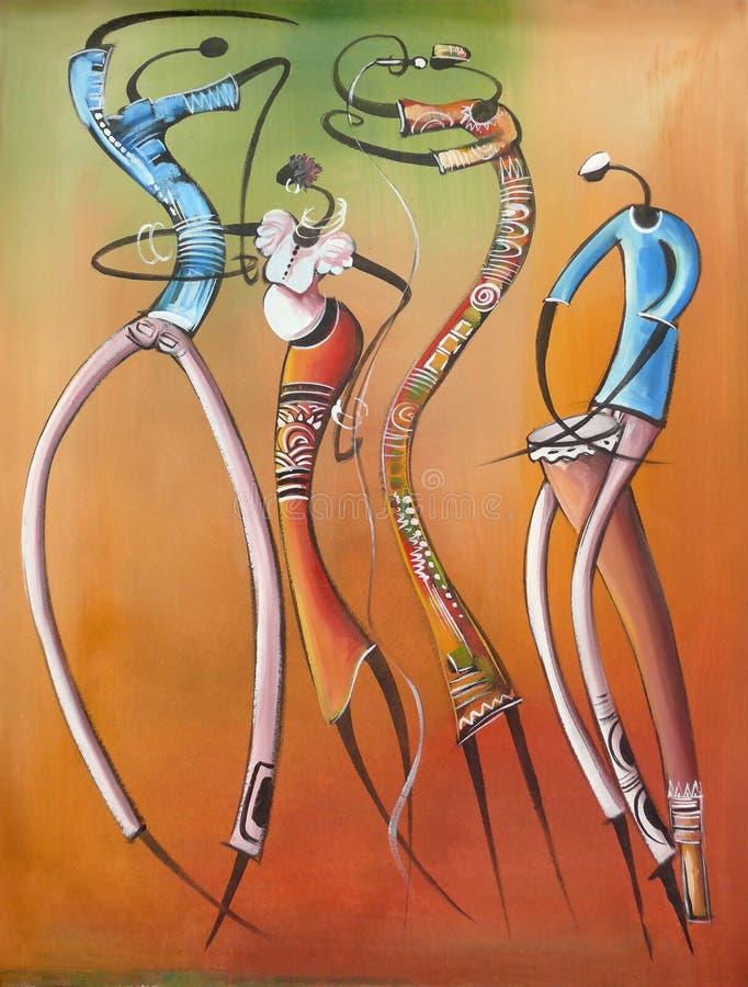 Rysować na życiu Afrykańscy ludzie. royalty ilustracja