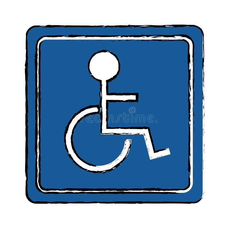 Rysować niepełnosprawną osoba wózka inwalidzkiego znaka drogę ilustracja wektor