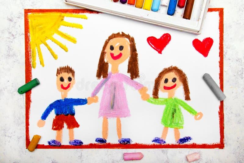 Rysować: Pojedynczy wychowywać Uśmiechnięta rodzina z matką i jej dwa dzieciakami royalty ilustracja