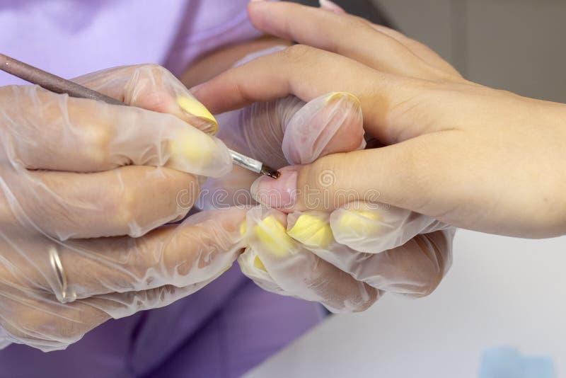 Rysować przejrzystą podstawę dla lakierniczego gel shelley manicurzysta robi manicure'owi w salonie zdjęcia stock