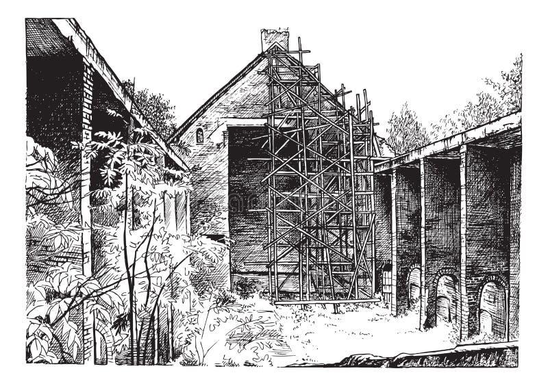 Rysować ruina kościół katolickiego royalty ilustracja