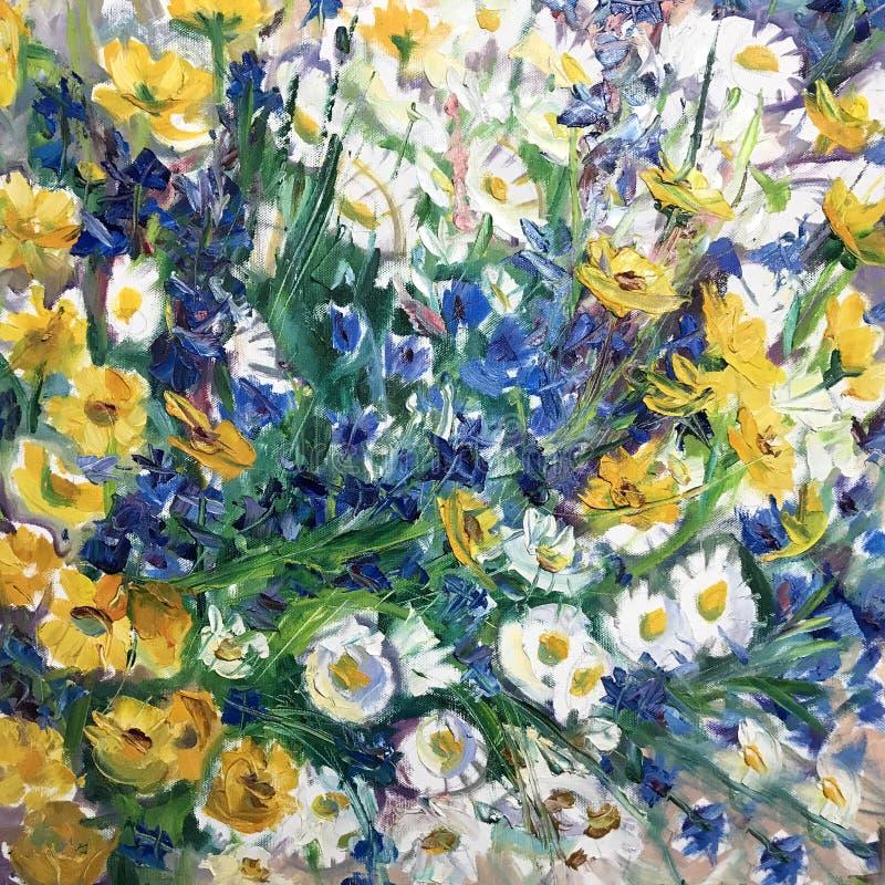 Rysować rumianek i cornflowers royalty ilustracja