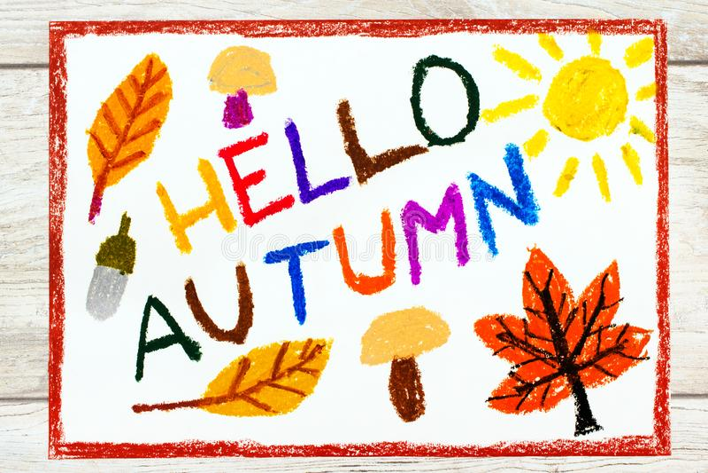 Rysować: Słowo jesieni CZEŚĆ pieczarek, acorn, koloru żółtego i pomarańcze liście, royalty ilustracja