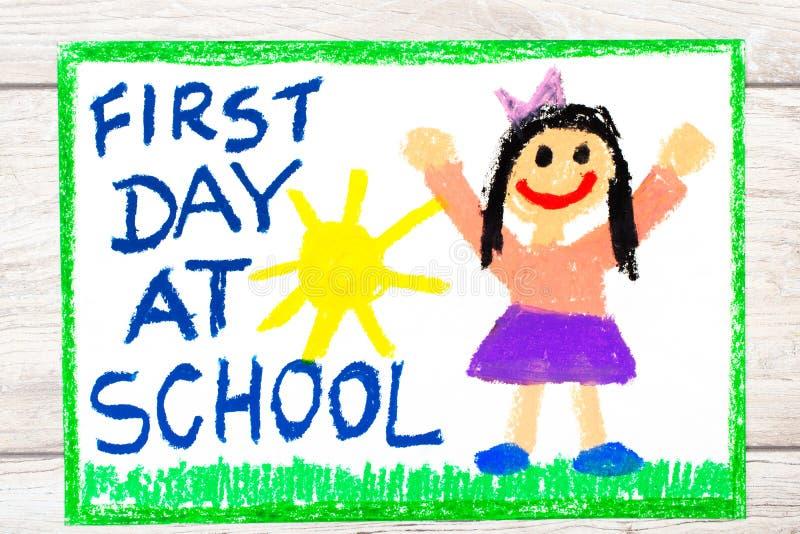 rysować: Słowo PIERWSZY dzień PRZY SZKOLNĄ i szczęśliwą dziewczyną ilustracja wektor