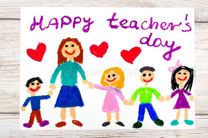 Rysować: Słowo SZCZĘŚLIWI nauczyciele dzień, nauczyciel i szczęśliwi dzieci, royalty ilustracja