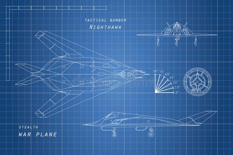 Rysować samolot wojskowy Wierzchołka, bocznych i frontowych widoki, płaska wojny royalty ilustracja