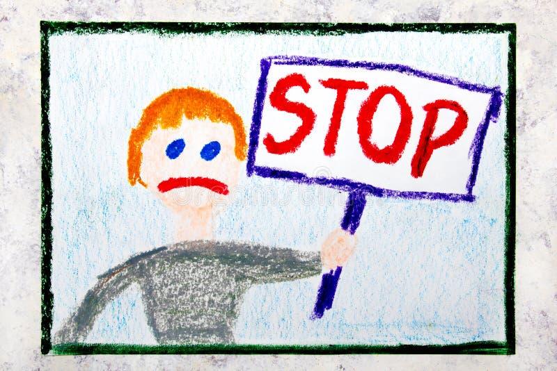 rysować: Smutna chłopiec trzyma przerwę podpisywać wewnątrz jego ręka zdjęcia royalty free