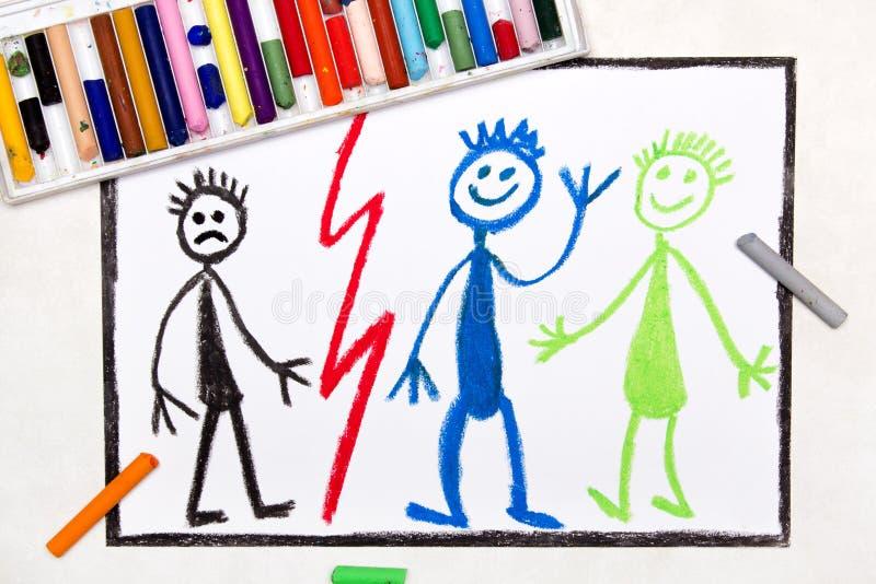 Rysować: Smutna osamotniona chłopiec i uśmiechnięty szczęśliwy przyjaciel ilustracji