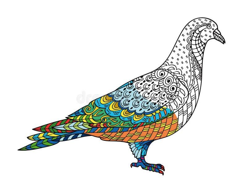 Rysować stylizującego gołąbka gołębia Freehand nakreślenie dla dorosłego antego stresu ilustracji