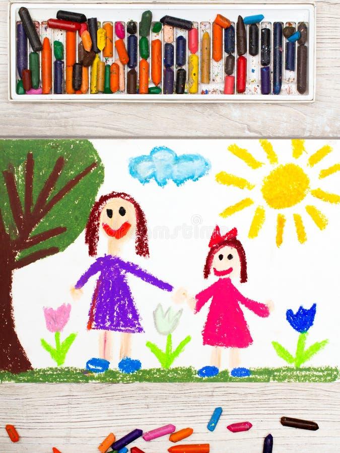 Rysować: Szczęśliwa samotna matka z jej córką zdjęcia stock