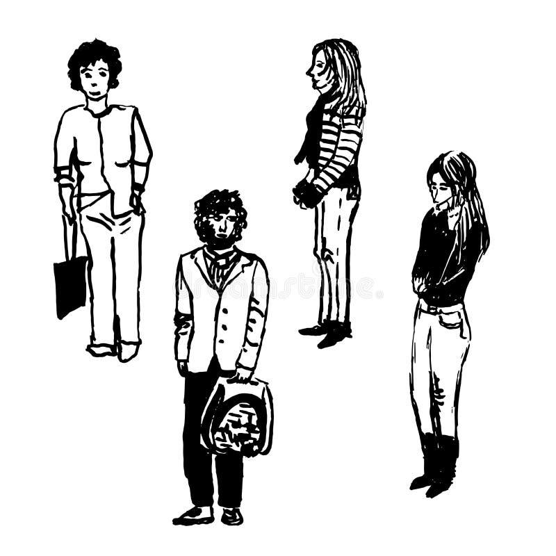 Rysować ustawiam cztery postaci miastowi mieszkanowie na ulicie, mężczyzna i kobietach, pociągany ręcznie ilustracja ilustracja wektor