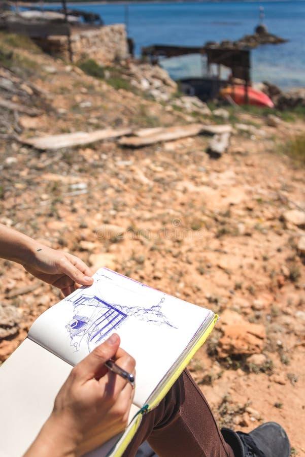 Rysować w Formentera obraz stock