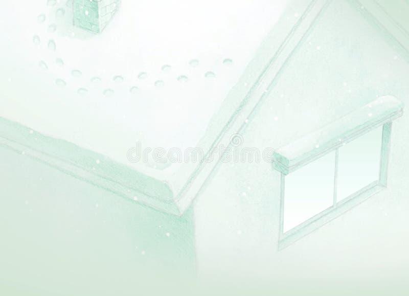 Rysować zielony bajka domu tło w zimie ilustracji