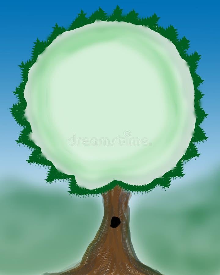 Rysować Zielony drzewo Przeciw niebieskiemu niebu obrazy royalty free