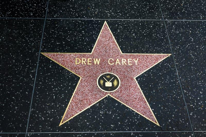Rysował Carey gwiazdę na Hollywood spacerze sława zdjęcie royalty free