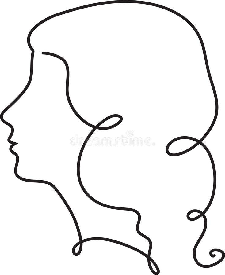 Rysowanie linii ciągłej twarzy żeńskiej Abstrakcyjny rysunek liniowy Pionowy styl minimalistyczny kobiety Jeden ilustracji