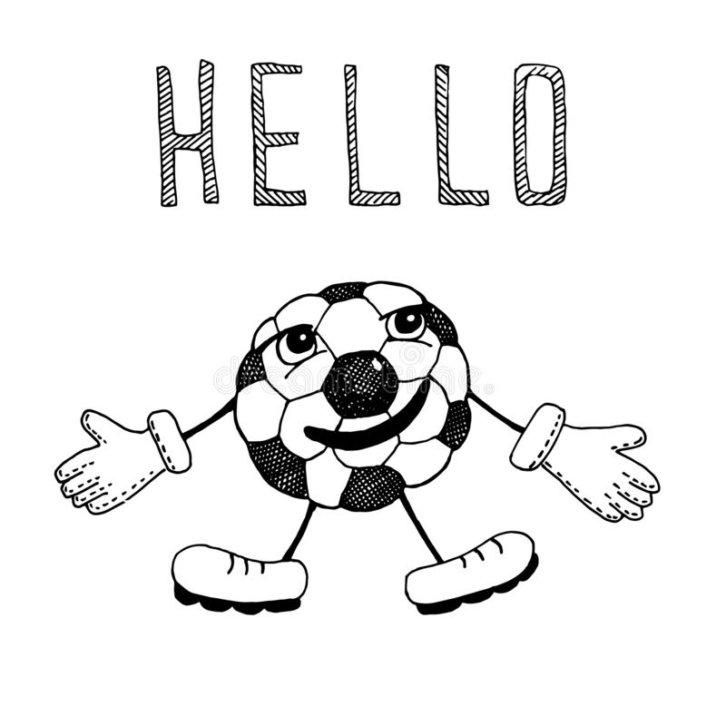 Rysownicza piłka nożna z twarzą, emocjami, uśmiechem, rękami i nogami wita graczy i fanów Wektor ręki ilustracji