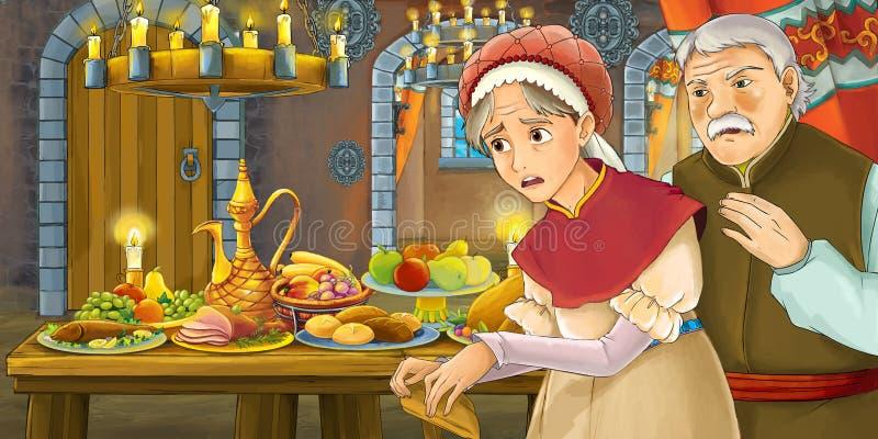 Rysownicza scena bajkowa z kobietą w średnim wieku przy stole pełnym jedzenia ilustracja wektor