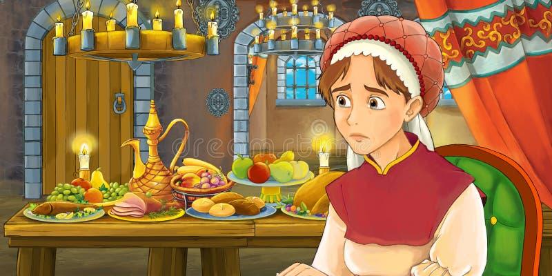 Rysownicza scena bajkowa z kobietą w średnim wieku przy stole pełnym jedzenia ilustracji