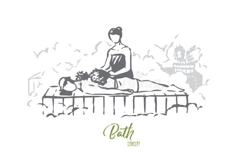 Ryss bad, bastu, brunnsort, behandling, handdukbegrepp Hand dragen isolerad vektor royaltyfri illustrationer
