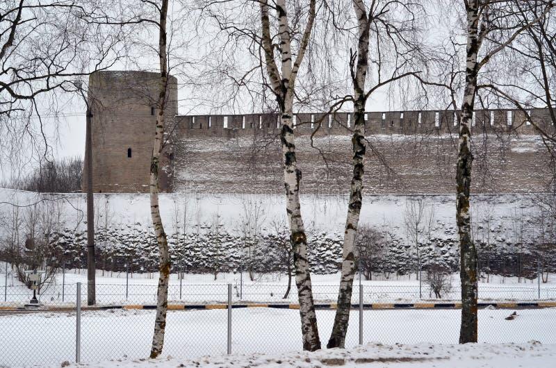 Ryss-estländare gräns royaltyfria foton