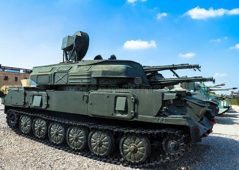 Ryss gjorde ZSU-23-4 Shilka självgående, radar vägledde anti--flygplan vapnet Latrun Israel arkivbilder