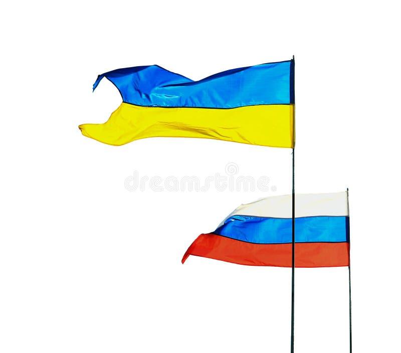 Ryss- och ukrainareflaggor som isoleras på vit bakgrund arkivfoton