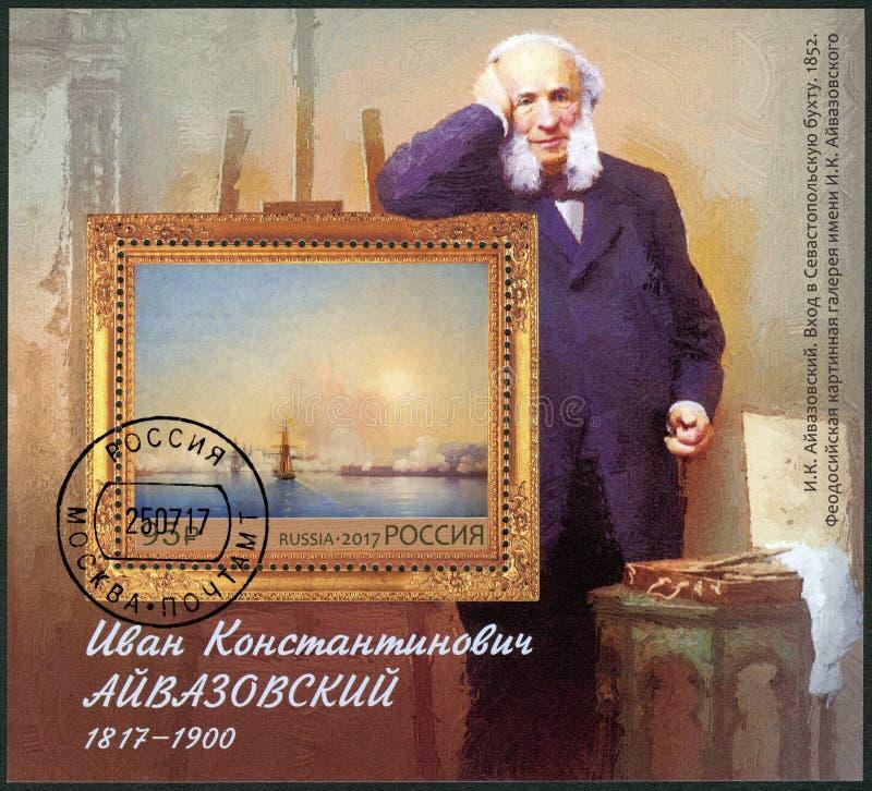RYSSLAND - 2017: ägnade den 200. årsdagfödelsen av Ivan Konstantinovich Aivazovsky 1817-1900, målare royaltyfri foto