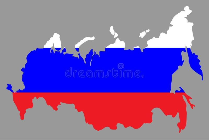 Ryssland översikt i ryssflagga Vektor?versikt f?r rysk federation ocks? vektor f?r coreldrawillustration stock illustrationer