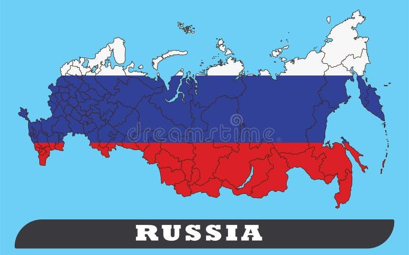 Ryssland översikt och Ryssland flagga royaltyfri illustrationer