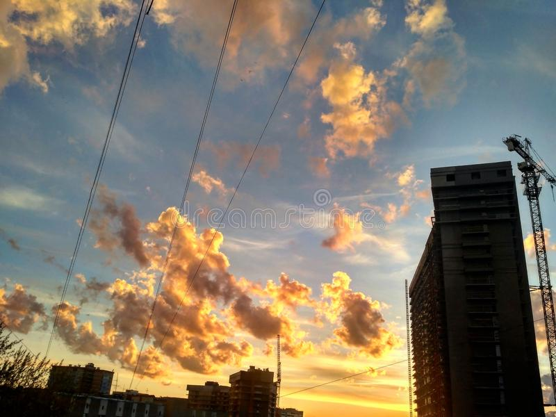 Ryssland Ekaterinburg solnedgång arkivbild