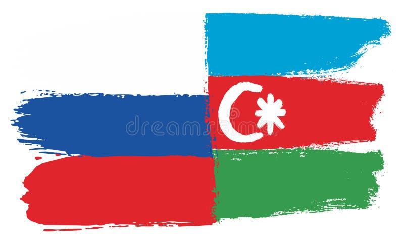 Ryssland flagga & hand för Azerbajdzjan flaggavektor som målas med den rundade borsten vektor illustrationer