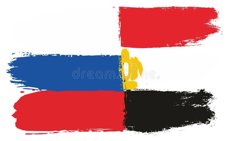 Ryssland flagga & hand för Egypten flaggavektor som målas med den rundade borsten vektor illustrationer