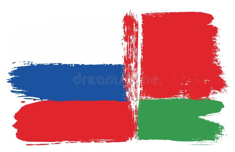 Ryssland flagga & hand för Vitryssland flaggavektor som målas med den rundade borsten royaltyfri illustrationer