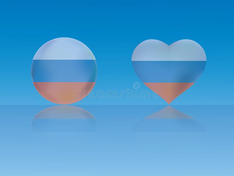 Ryssland flagga i glansig boll och hjärta med reflexion på blå bakgrundsvektorillustration stock illustrationer