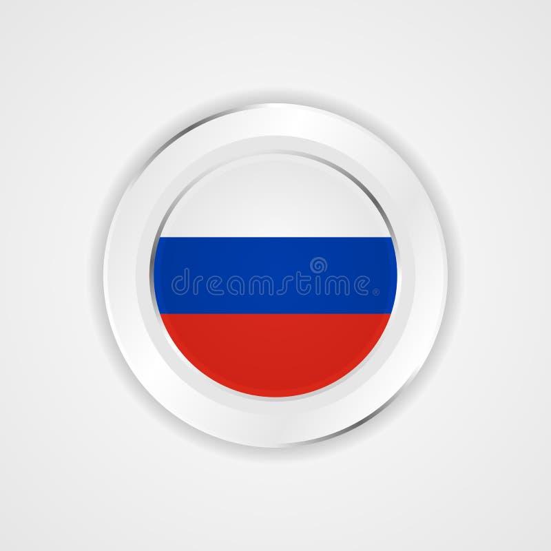 Ryssland flagga i glansig symbol stock illustrationer