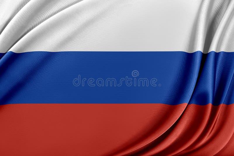 Ryssland flagga med en glansig siden- textur royaltyfri illustrationer