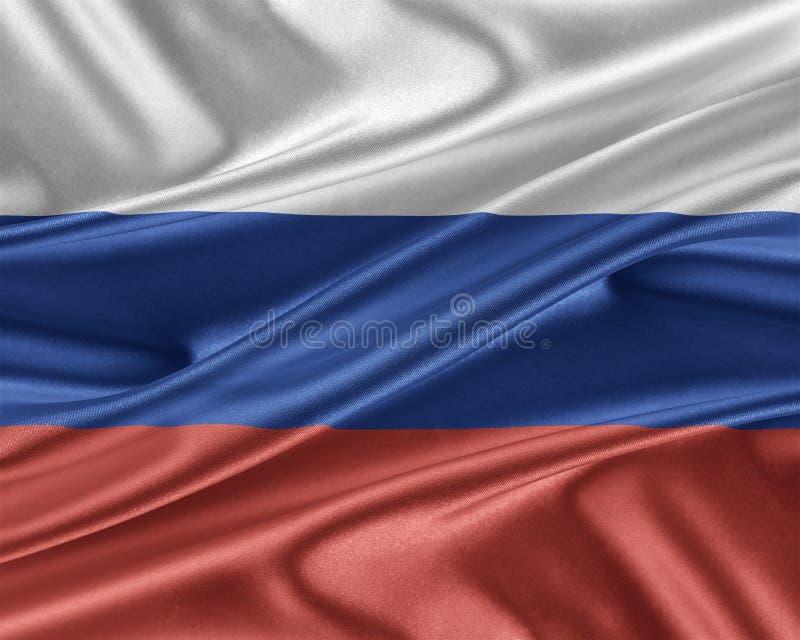 Ryssland flagga med en glansig siden- textur vektor illustrationer
