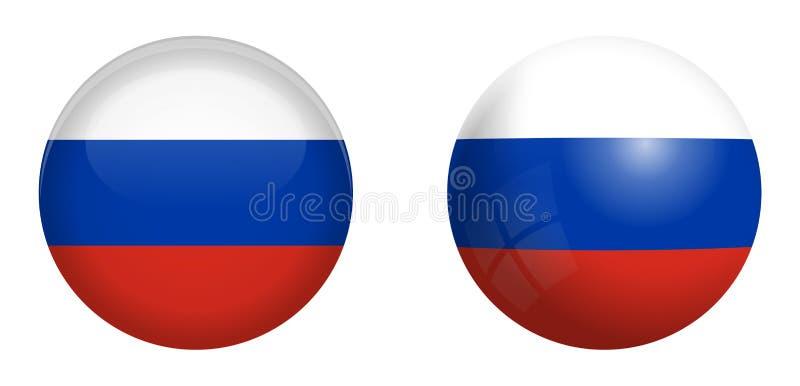 Ryssland flagga under knappen för kupol 3d och på glansig sfär/boll vektor illustrationer